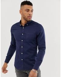 ASOS DESIGN Skinny Fit Denim Shirt In Navy