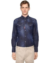 DSQUARED2 Stretch Cotton Denim Western Shirt