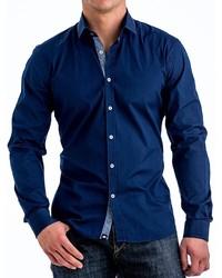 Stone Rose Stretch Denim Shirt Contrast Trim Long Sleeve
