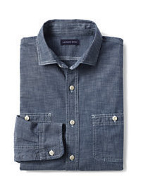 Lands' End Tailored Fit Chambray Shirt Deep Blue Indigo
