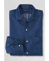 Lands' End Tailored Fit Limited Edition Spread Collar Denim Dress Shirt