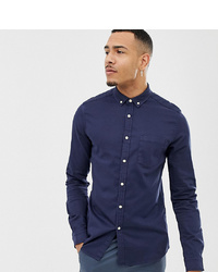 ASOS DESIGN Tall Skinny Fit Denim Shirt In Navy