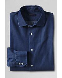 Classic Tall Tailored Fit Denim Dress Shirt Indigo