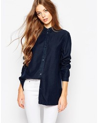 WÅVEN Waven Nott Button Front Linen Mix Denim Shirt