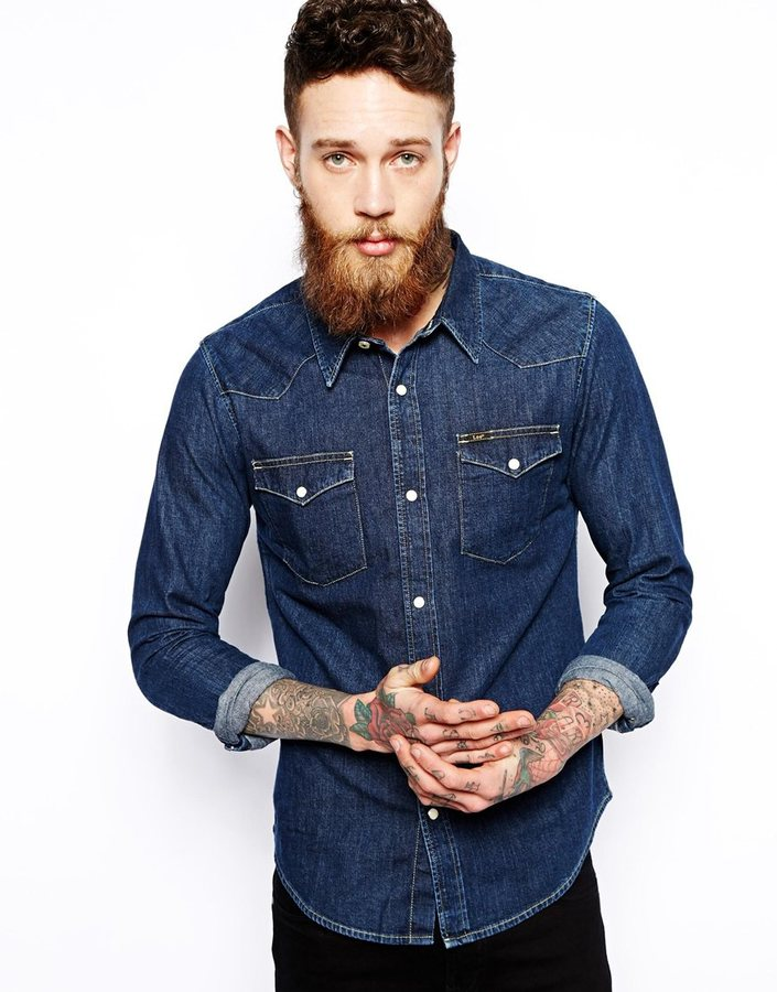 023b15bc Lee Western Denim Shirt Slim Fit Dark Rinse Wash, $122 | Asos ...