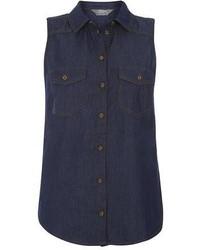 Dorothy Perkins Indigo Sleeveless Denim Shirt