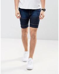 Brave Soul Biker Shorts In Washed Blue Denim