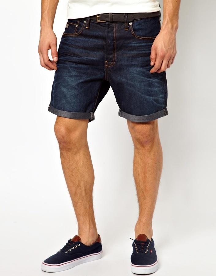 Fabriksnye G Star Denim Shorts 3301 Straight Fit Dark Aged, $163 | Asos DJ-59