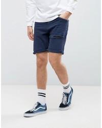 Asos Denim Shorts In Stretch Slim Dark Blue With Thigh Rip