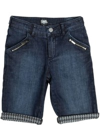 Karl Lagerfeld Stretch Cotton Denim Shorts