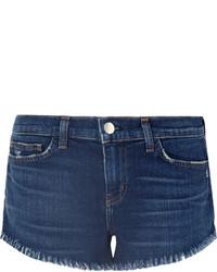 L'Agence Zoe Frayed Denim Shorts Mid Denim