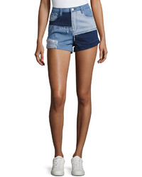 MinkPink Mink Pink Mid Rise Soul Patch Denim Shorts Blue