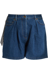 Miu Miu Pleated Front High Rise Denim Shorts