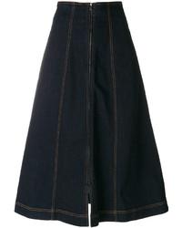 Fendi Denim Flared Midi Skirt