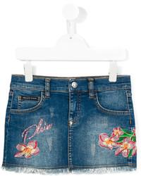 Philipp Plein Junior Embroidered Denim Skirt