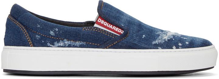 DSQUARED2 Indigo Denim Slip On Sneakers
