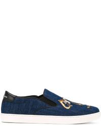 Dolce & Gabbana London Musician Patch Slip On Sneakers