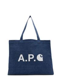 A.P.C. Indigo Carhartt Wip Edition Shopping Tote