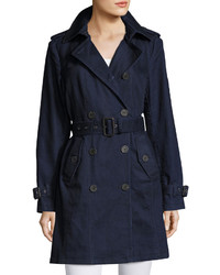 Michl michl kors denim double breasted trench coat dark blue medium 3756768