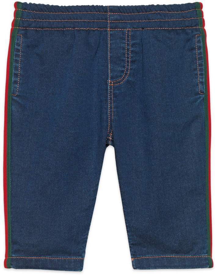 Gucci Baby Jersey Denim Pant With Web