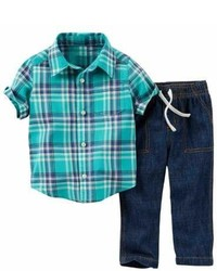 Carter's Carters Infant Boys 2 Piece Blue Plaid Woven Shirt Denim Pants Set 3m