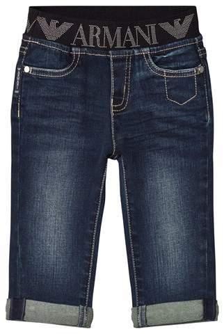 Armani Junior Dark Logo Denim Trousers