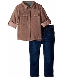 Hudson Kids Two Piece Button Down Shirt W Knit Denim Pants Set