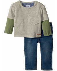 Hudson Kids Two Piece French Terry Pullover Sweatshirt W Knit Denim Pants