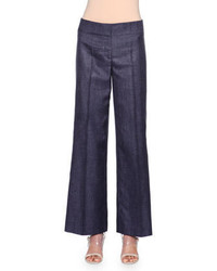 Navy Denim Wide Leg Pants