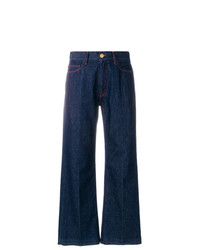 Frayed cropped mid rise flared jeans medium 7704197