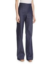 Lace up wide leg denim pants denim medium 911863