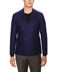 Armani Collezioni Solid Wool Double Breasted Jacket