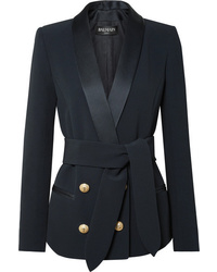 Balmain Belted Double Breasted Crepe Blazer