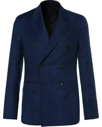 Caruso Blue Butterfly Slim Fit Double Breasted Wool Hopsack Blazer