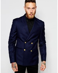 Asos Brand Skinny Double Breasted Blazer With Gold Buttons
