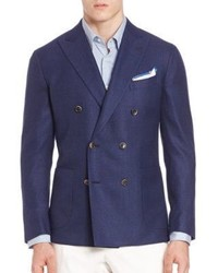 Saks Fifth Avenue Collection Double Breasted Wool Silk Sportcoat