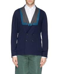 Kolor Contrast Lapel Bib Knit Blazer