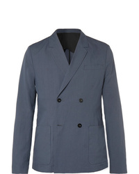 Mr P. Dark Blue Unstructured Double Breasted Linen And Cotton Blend Suit Jacket