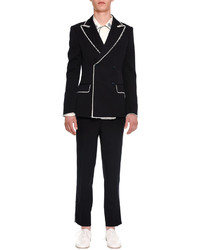 Alexander McQueen Double Breasted Blazer With Fringed Edges Navy