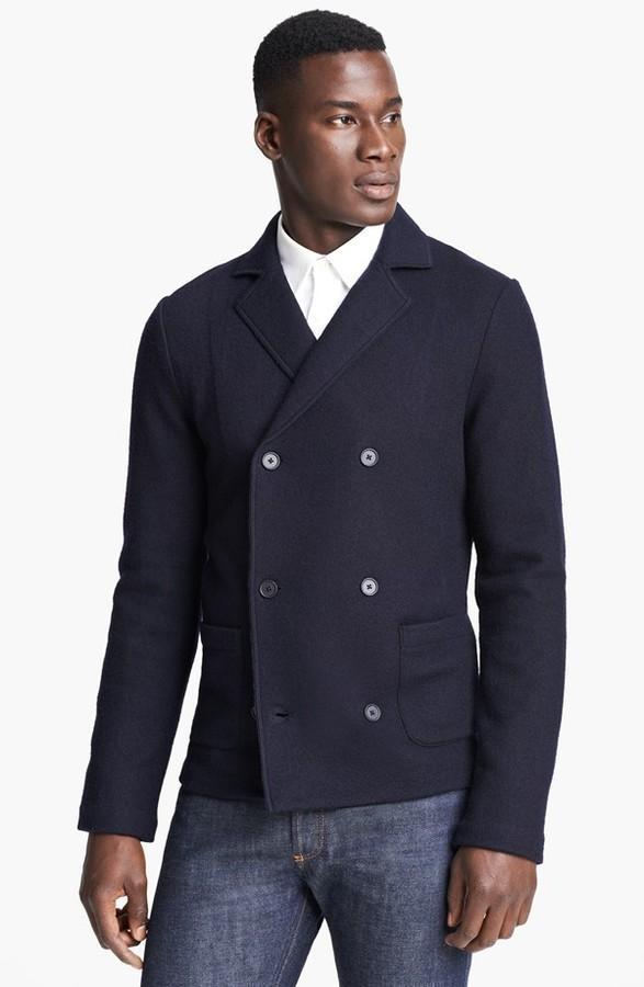 008079e9 $645, Z Zegna Double Breasted Knit Wool Blazer