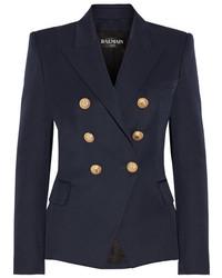 Balmain Double Breasted Wool Twill Blazer Navy