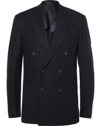 Hardy Amies Blue Slim Fit Double Breasted Cashmere Blazer