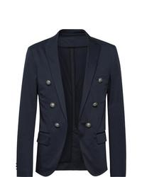 Balmain Midnight Blue Slim Fit Double Breasted Cotton Blend Blazer