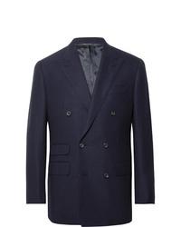Thom Sweeney Navy Slim Fit Double Breasted Wool Hopsack Blazer