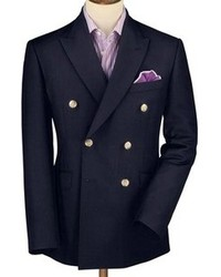 Charles Tyrwhitt Navy Tonic Wool Mohair Tailored Fit Double Breasted Blazer