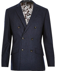 River Island Navy Wool Blend Double Breasted Suit Jacket
