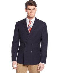 Bar III Slim Fit Navy Textured Double Breasted Sport Coat