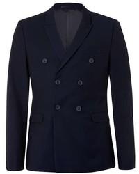 Topman Dark Navy Textured Skinny Fit Suit Jacket