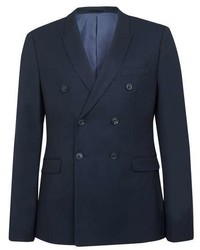 Topman Navy Stretch Double Breasted Suit Jacket