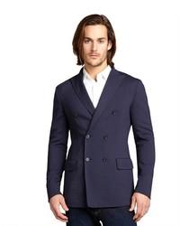 Bottega Veneta Tourmaline Blue Wool Blend Double Breasted Jacket